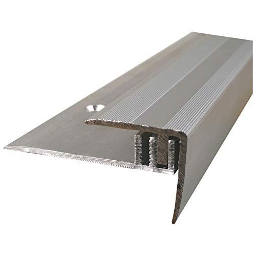 ufitec Profilsystem für Parkett- und Laminatböden - für Belagshöhen von 7-15 mm - viele Farben lieferbar (Treppenkantenprofil 100 cm lang, Silber)