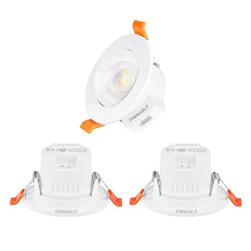 Luces Plafon LED Foco Downlight Empotradas en el Techo LED Orientables Regulables Pequeños 5W Color de Luz Ajustable Agujero de Techo Diámetro 65-80MM Lot de 3 de Enuotek