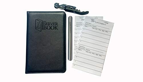 1 Bundle - The Server Book with Zipper Pocket - Wine Key - Stainless Steel Crumber - Guest Checks - Black Waitress/Waiter Book - Food Service Equipment & Supplies - Menu & Check Displayers (1)