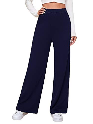 SOLY HUX Pantalones de deporte para mujer, pantalones de jogging, pantalones de golf, pantalones de yoga, informales de pierna ancha, pantalones de deporte con cintura elástica azul marino XS