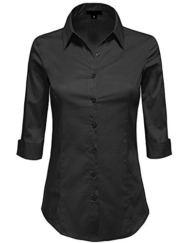 MAYSIX APPAREL Plus Size 3/4 Sleeve Stretchy Button Down Collar Office Formal Shirt Blouse for Women Black 3XL