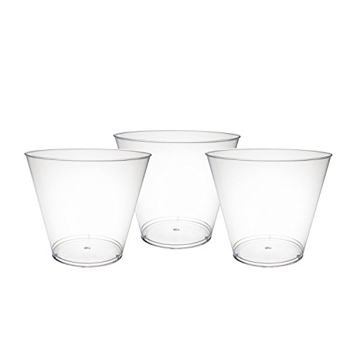 Party Essentials Disposable 9 oz Party Punch Cups | Old Fashioned Tumblers | Cocktail Glasses, 50 Count, Clear, Hard Plastic