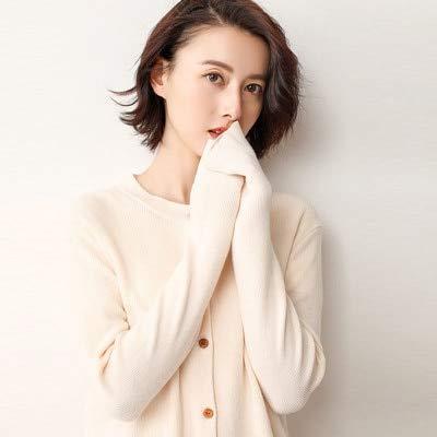 BDGVGMY Damenpullover Frauen 30% Minimalist Einreiher Kurzstrickjacke Plus Size 3XL Herbst Winter Pure XXXL Beige