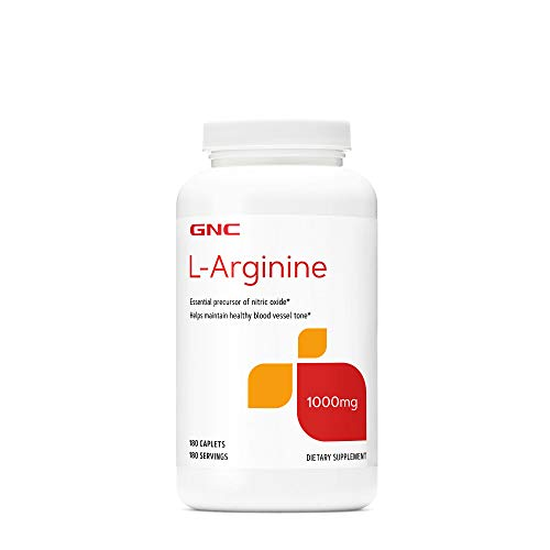 GNC L-Arginine 1000mg, 180 Caplets, Increases Nitric Oxide Production