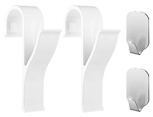 Ganchos para toallero (pack de 4) – 2 piezas de ganchos de plástico ABS para toalleros con radiador, 2 piezas de ganchos para toallas adhesivos – Mantén tu toallero en orden, Handy Picks