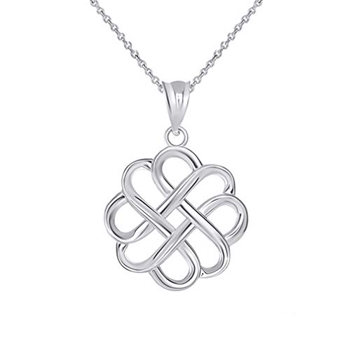 Fine 14k White Gold Endless Love Good Luck Irish Celtic Knot Pendant Necklace, 22'