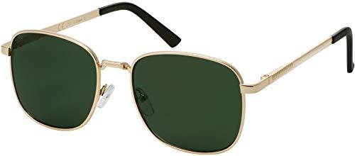 La Optica B.L.M. Herren Sonnenbrille Damen - Retro Pilotenbrille Fliegerbrille Gold - Brillenbeutel Brillenputztuch - Gläser Grün/Olive