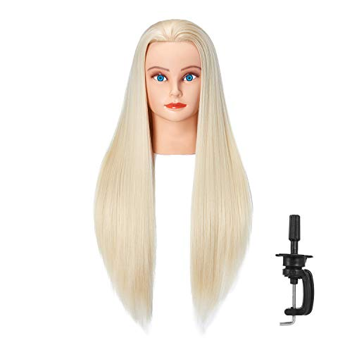 Hairlink 26-28'' Mannequin Head Synthetic Fiber Hair Styling Training Head Dolls for Cosmetology Manikin Maniquins Practice Head with Stand (6611W61320)