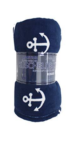 Maritime Kuscheldecke mit Anker blau