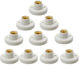 Hanpearl Round E27 White LED Lamp Screw Base Halogen Bulb Holder Converter Light Bulb Base Lamp Socket Adapter (10 pcs)