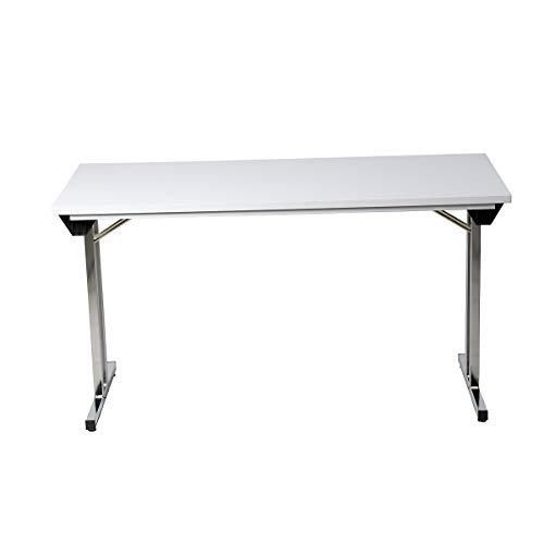 Certeo Klapptisch mit T-Fuß-Gestell | HxBxT 75 x 120 x 80 cm | Chrom-Grau | Küchentisch Esszimmertisch Schreibtisch Besprechungstisch Arbeitstisch