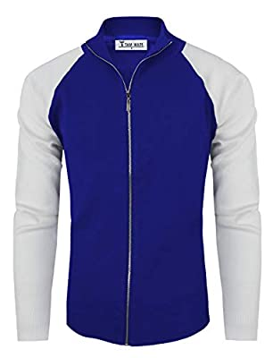 TAM WARE Mens Stylish Colorblocked Full Zip Cardigan TWHD1016-BLUE-US M by