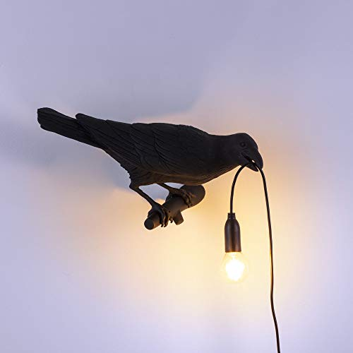 SELETTI 'Bird Lamp Black & White Waiting, Playing, Looking Lamp Bird, Schwarz, Looking Right