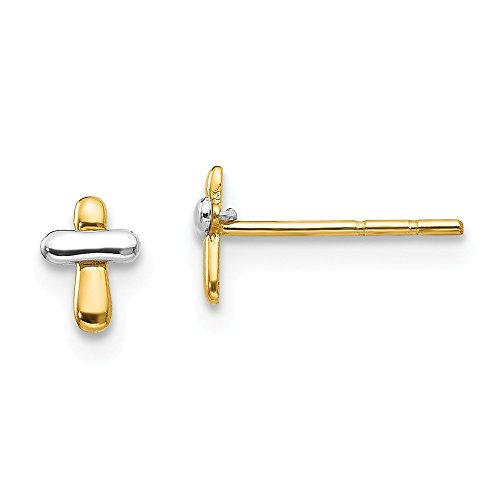 14k Two Tone Yellow Gold Cross Religious Post Stud Earrings Fine Jewelry For Women Gifts For Her