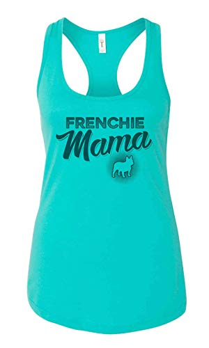 Cute Womens Dog Lover Tanks Frenchie Mama Royaltee Best Friend Dog Mom Shirt Collection Tahiti Blue, Small