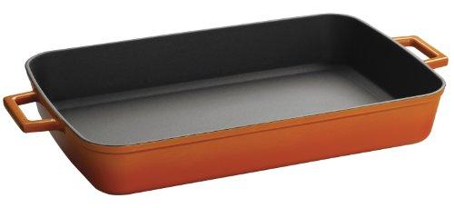Lava Signature Enameled Cast-Iron Rechthoekig Baking Dish, 10 by 16 inch, 10 x 16 inch, oranje spice