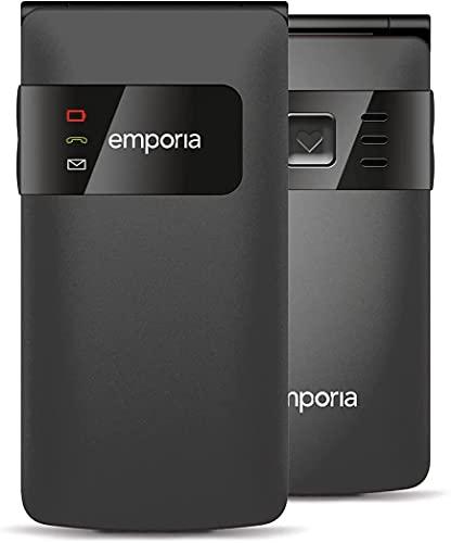 Emporia FLIPbasic Handy, 2.2 Zoll Farbdisplay, große Tasten, SOS-Taste, Ladestation, farbige LEDs für Benachrichtigungen, Black (Italien)