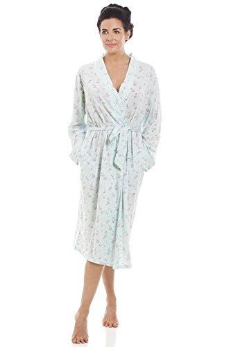 Camille Bata de Punto de algodón para Mujer Estampado Floral - Verde Menta
