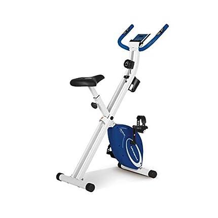 Ultrasport - Bicicleta estática F-Bike Design, bicicleta fitness con sillín abatible, portabotellas, pantalla LCD, pulsómetro, plegable y compacta, soporta hasta 110kg, azul marino