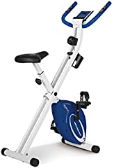 Ultrasport F-Bike Design Bicicleta estática de fitness plegable con sillín de gel, portabidones, pantalla LCD, sensores de pulso, compacta y plegable, carga máxima 110 kg, Azul Marino