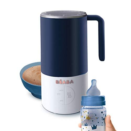 BÉABA Milk Prep, Preparador de biberones y bebidas lácteas, Calienta rápido, Leche en polvo, leche materna, leche en brick, chocolate caliente, Para bebés y niños, Azul oscuro