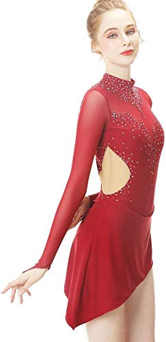 DIELIAN Frauen Crystals Eiskunstlauf-Kleid Fachmann Wettbewerb Tanzkleidung Trikot Leuchtenden Offener Rücken Skating Rock rot,Rot,155cm
