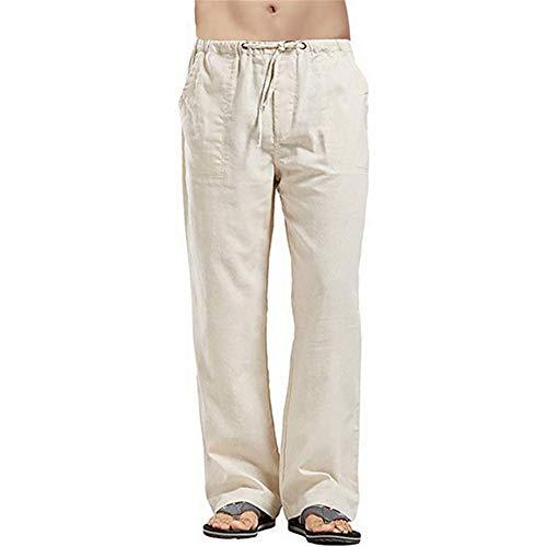 Pantalones De Algodón Y Lino De Algodón Natural para Hombres Pantalones De Jogging Finos De Verano Pantalones De Correr Sueltos Elásticos Sólidos para Hombres Ocasionales