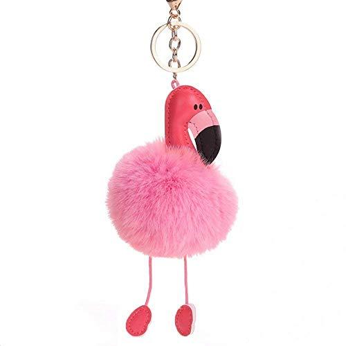 Uteruik Plüsch-Flamingo-Schlüsselanhänger, flauschig weiches Kunstfell, Bommel, Taschen-Schlüsselanhänger, Handtaschen-Anhänger, 1 Stück