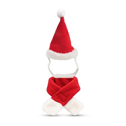 Perro gato mascota Santa sombrero bufanda Navidad disfraz silenciador Cosplay Disfraces Ropa de perro invierno para cachorros gatitos pequeños perros mascotas amable y caliente rojo y blanco
