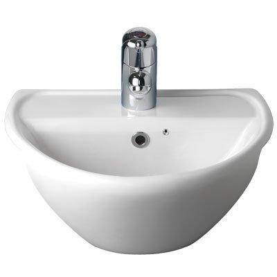 Twyford SA4621WH White Sola Waschbecken, 1 Hahnloch, halb-Einbau, 450 mm