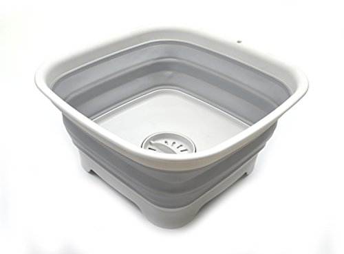 SAMMART Faltbare Spülpfanne mit Abtropfstopfen – faltbares Waschbecken – tragbare Spülbecken – platzsparende Aufbewahrung für die Küche (Grau, Mittel)