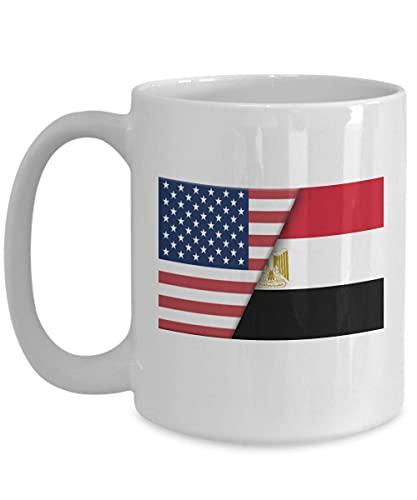 N\A EE. UU, Egipto, Bandera egipcia, Taza de café Blanco, Regalo de Doble Ciudadano inmigrante