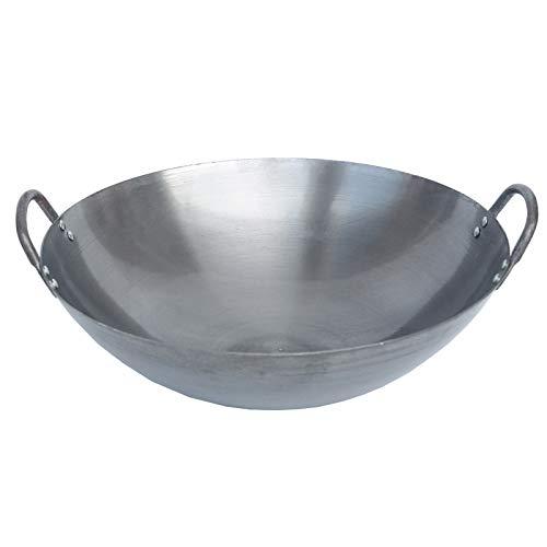 Wok Cinese Pentola In Ferro Tradizionale In Acciaio Al Carbonio Wok - Qualità Professionale - Fondo Rotondo,50cm