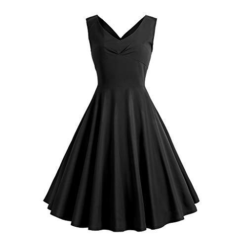 NINGSANJIN niente Kleider Damen,Rockabilly Kleider Damen große größen 5xlfestliche Kleider für Damen,Schwarz S