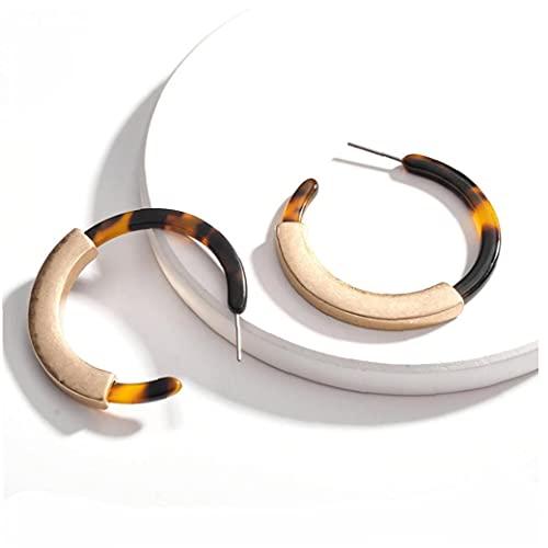 1pair Arete acrílico diseño geométrico aro Redondo liviano C Forma de Gota cuelga Pendiente Bohemia joyería (Leopardo)