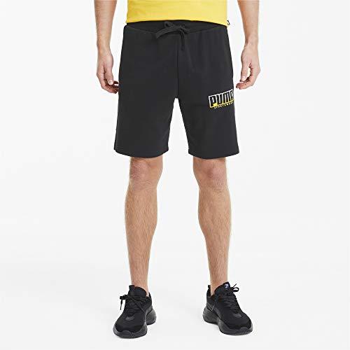 PUMA Athletics Shorts 8` TR Pantalones Cortos, Hombre, Puma Black-Golden Rod, L