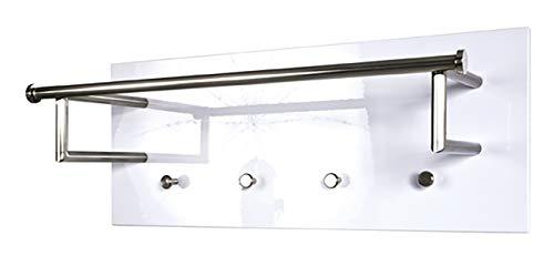 Haku Möbel Wandgarderobe- MDF Hochglanz weiß- Stahl Edelstahloptik- Breite 75 cm