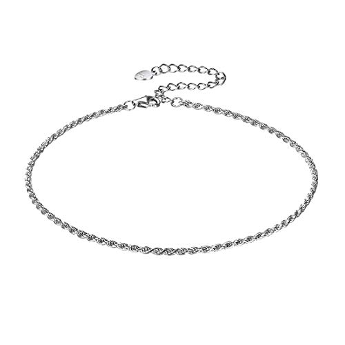 Rope Chain Anklet for Women Girls 925 Sterling Silver Bohemian Jewelry Adjustable Summer Beach Foot Ankle Bracelet