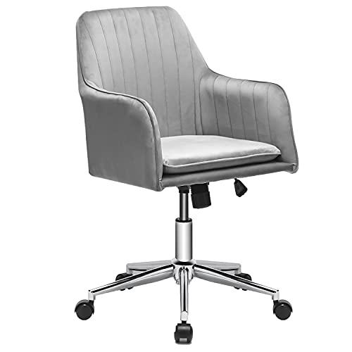 Phoetya Samt Bürostuhl ergonomisch Schreibtischstuhl modern Arbeitsstuhl Drehstuhl mit Armen Höhenverstellbar Verstellbare Höhe für das Home-Office, Schminktisch Stuhl(Grau)