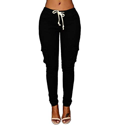 VRTUR Hosen, Damen Freizeithose Stretch Beiläufig Skinny Jogginghose Mode Hip Push up Slim Fit Pants Einfarbig Hose, Bequeme Elastischer Taille Jeans Schwarz M