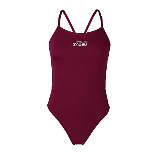 ZAOSU Damen und Mädchen Schwimmanzug Essential   Sport Badeanzug für das Schwimm Training, Größe:40, Farbe:lila