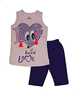 Jockey Embroidered Letters Sleeveless Round Neck T-shirt with Pants for Girls