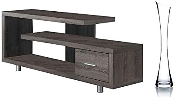 Monarch Specialties TV Stand Dark Taupe With 1 Drawer For TVs Up To 47 With Freebies Dark Taupe