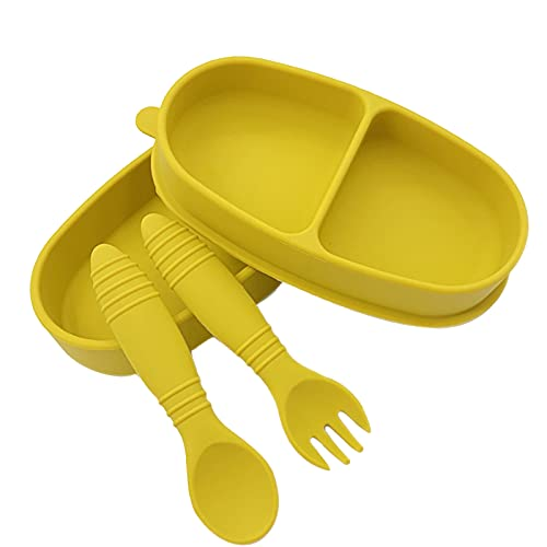 puseky Plato dividido para bebé con tenedor de cuchara Set de plato de succión suave para auto alimentación