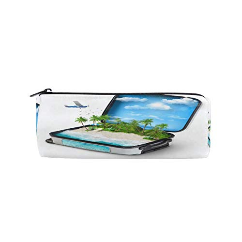 Pencil Case Traveling Open Suitcase Tropical Island Palm Tree Zipper Polyester Pen Pouch Cosmetic Bag