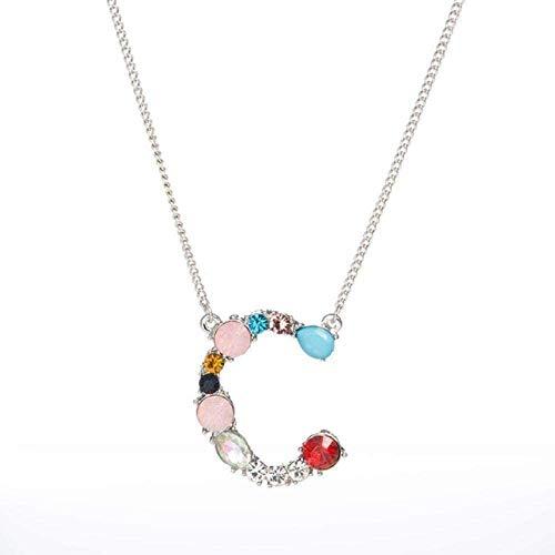 AOAOTOTQ Co.,ltd Necklace C - Women Letters Alphabet Initial DIY Name Necklace Pendant Cubic Zirconia Snake Chain Necklace Gift