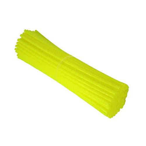 VONKY 72pcs Fahrrad-Rad-Speiche-Wraps Abdeckung Motorrad-Felgen Motorrad-Reifen Speichen Kunststoff Sleeves Fahrrad Dekoration, gelb fluoreszierend