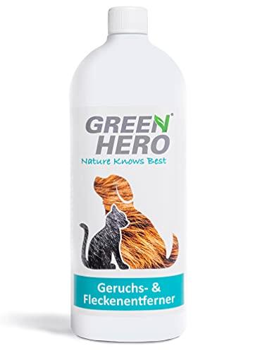 Green Hero Quitamanchas y eliminador de olores de animales, limpiador enzimático biológico como concentrado microbiológico de 1000 ml producen 10 litros de limpiador listo para usar.
