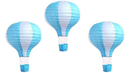Pack of 3 Stripy Hot Air Balloon Paper Lantern Wedding Party Decoration Craft Lamp Shade (Baby Blue, 12