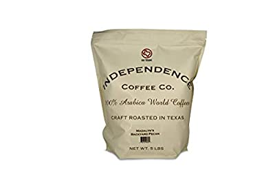 Independence Coffee Co. Madalyn's Backyard Pecan Flavored Mellow Body, Light Roast Whole Bean Coffee, 5 Pound Bag